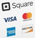 We gladly accept cash, checks,                                   and American Express, Discover, MasterCard and Visa credit card payments with the Square mobile app.